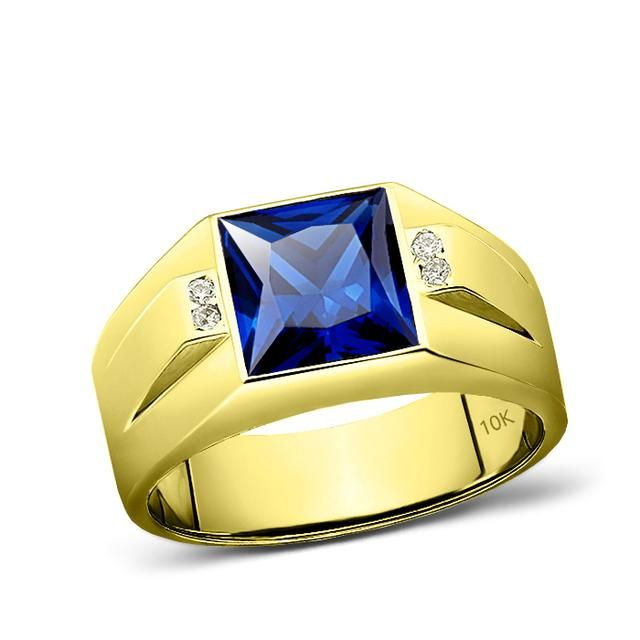 10k Yellow Gold Blue Sapphire Mens Gold Ring 4 Natural Diamond Accents In 2020 Mens Gold Rings Blue Sapphire Rings Mens Gold