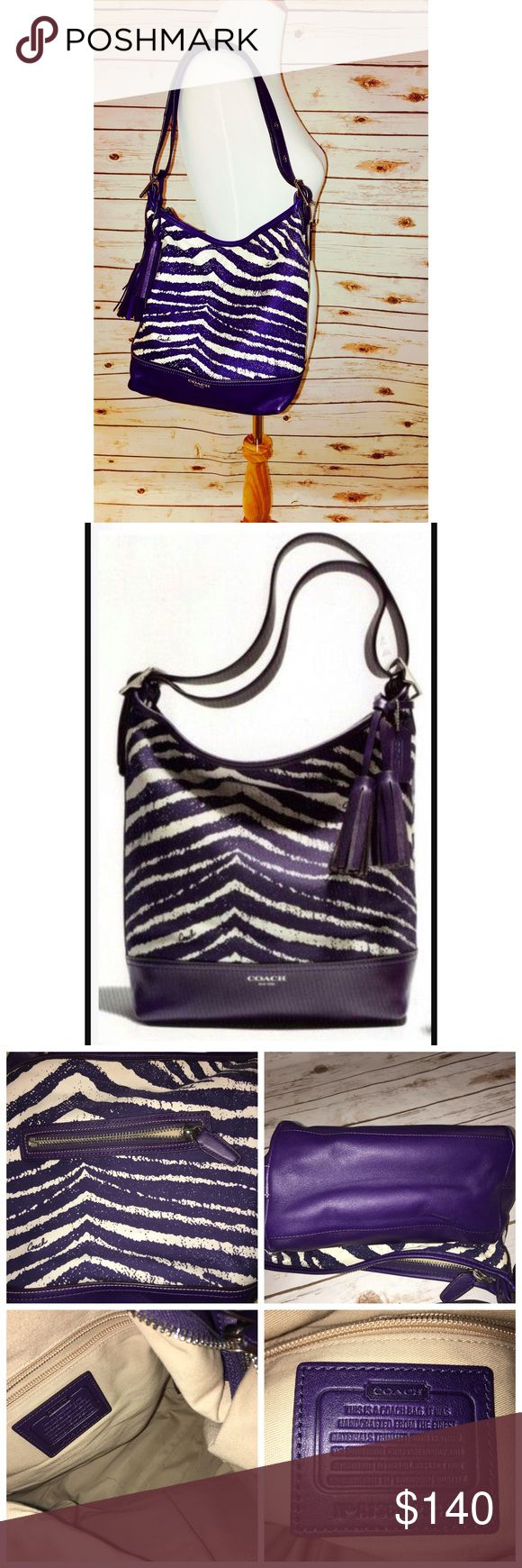 "Coach Legacy Zebra Print Zebra Duffle Purple/White Fantastic Condition Coach Legacy Zebra Print Zip Duffle Bag in Marine Purple and White! This bag is outstanding and has tons of room plus pockets...13"" W x 11.5"" H x 5"" D Strap Drop 8"" Doubled, 18"" Single Cross Body Coach Other"