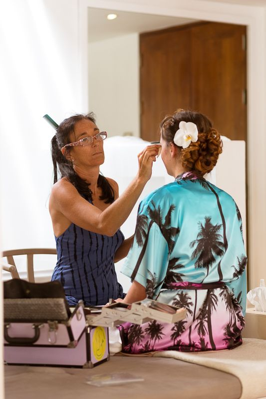 Bridesmaids gifts, tropical silk gowns for getting ready, hair and makeup gowns