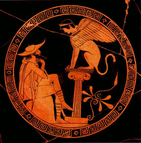 This artwork depicts Oedipus thinking over the riddle of the Sphinx of Thebes. The scene is from Sophocles' Oedipus Rex. The play was one of the many works of theater that developed during the Classical Period in Greece. Plays like this critiqued contemporary Athenian society.