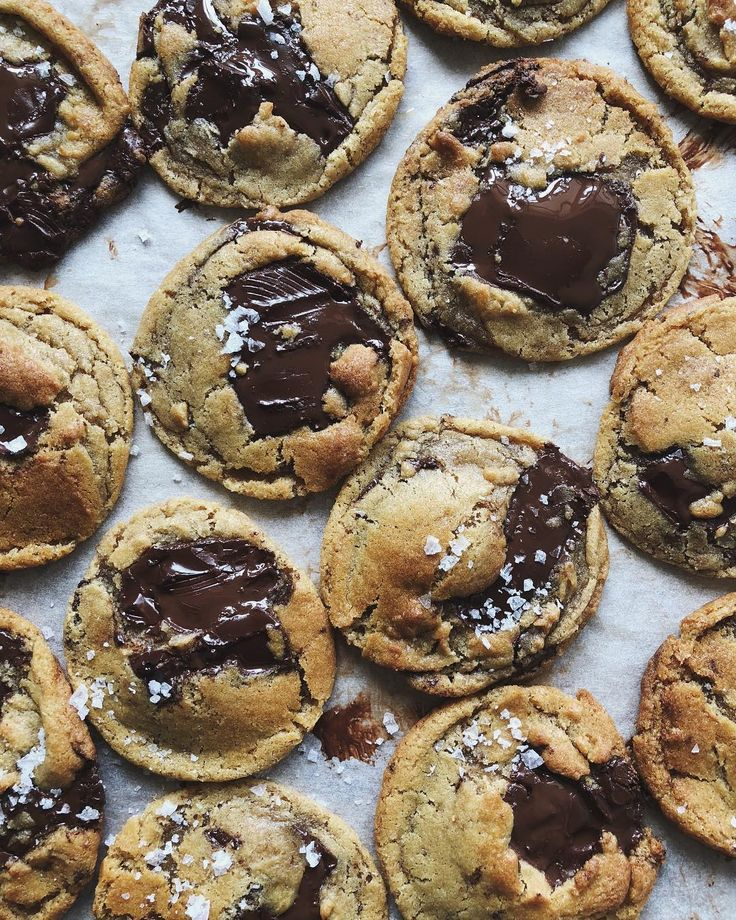 Chocolate Chip Cookies With Sea Salt by Thalia Ho /