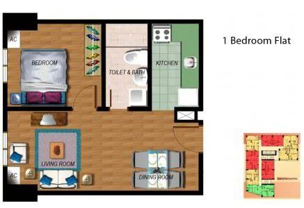 Fort Residences - 1-Bedroom Unit Floor Plan #manilacondo #bestcondo #condominium http://www.mymanilacondo.com/