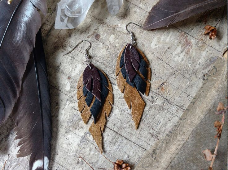 Recycled Leather Feather Earrings In Brown, Black and Olive by Hammerthreads on Etsy