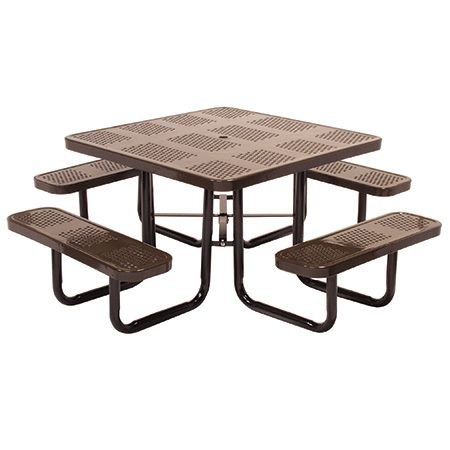 Our Square Metal Picnic Tables are a perfect choice for any outdoor setting. These tables are built to withstand all weather conditions and still look beautiful. Benches on all four sides make space for many while keeping a cozy atmosphere. #squarepicnictables #outdoorpicnictables