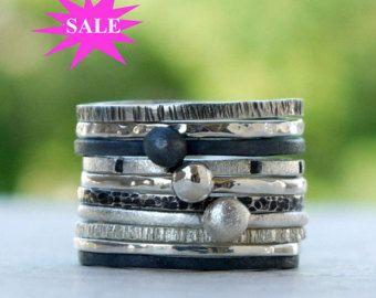Zilver Ringen set 7 gemaakt van sterling zilver door kalypsosilver