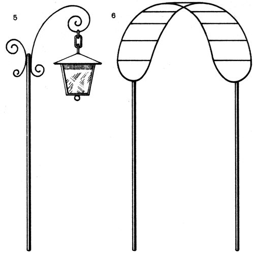 Опоры для вьющихся растений: 5 - светильник (для хмеля); 6 - навес над скамейкой (для винограда, актинидии)