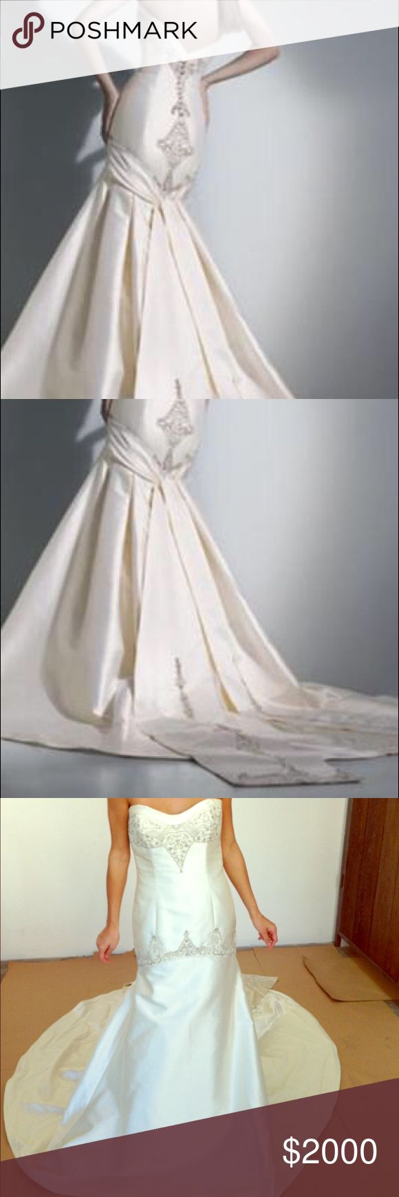 """Wedding Gown / Dress Platinum by Priscilla of Boston wedding gown. Gorgeous wedding dress! Never been worn! Style PL136 - purchased in 2008 - color is ivory - label size 10 with a street size of 4 - bust 36 - waist 28 - hips 36 - height with shoes 5' 8"""" - dress details: fit-to-flare gown has beaded dropped torso with embroidered duchess satin tails. Ivory silk/cotton mikado with beaded champagne tails. Beaded strapless sweetheart neckline. Low back w/ beaded details. Brand new! Make me an…"""