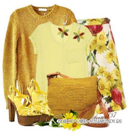 С чем носить желтый свитер, фото