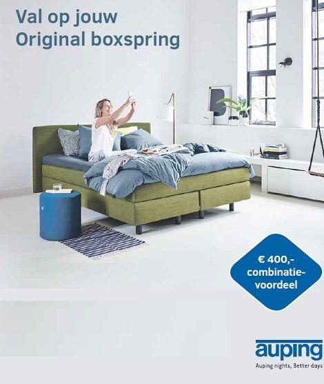 Kies  AUPING Original boxspring met hoofdbord, bedbodem, matras ,400 euro voordeel