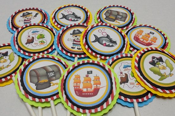 Pirate cupcake toppers, cupcake toppers, boy birthday cupcake toppers -set of 12