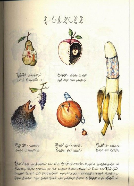 """* Codex Seraphinianus (1981) """"encyclopédie d'un monde imaginaire"""" œuvre de Luigi Serafini, architecte, peintre et designer industrielCodex Seraphinianus, originally published in 1981, is an illustrated encyclopedia of an imaginary world, created by the Italian artist, architect, and industrial designer Luigi Serafini during thirty months, from 1976 to 1978.[1] The book is approximately 360 pages long (depending on edition), and written in a strange, generally unintelligible alphabet."""