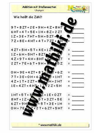 Addition mit Stellenwerten bis 1 Mio - ©2011-2016, www.mathiki.de - Ihre Matheseite im Internet #math #addition #arbeitsblatt #worksheet