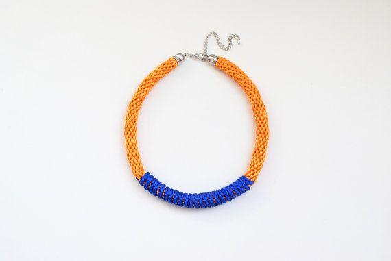 Kumihimo necklace orange necklace orange and blue by elfinadesign