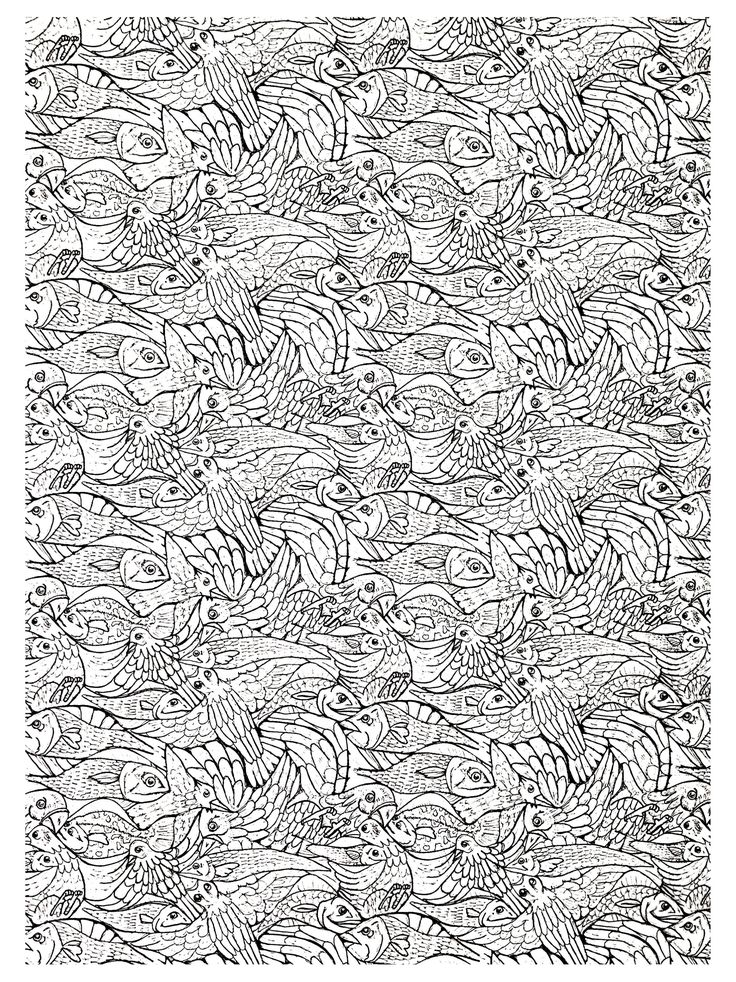Free Coloring Page Coloring Adults Fishes Complex Very