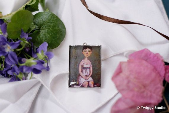 GIRL WITH A PEAR pendant by TwiggyStudio on Etsy, €30.00