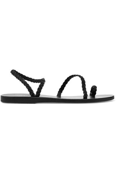 Ancient Greek Sandals - Eleftheria Braided Leather Sandals - Black - IT36