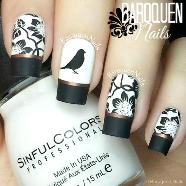 Pretty black nail art with Frech nail tips and stamping bird and flowers