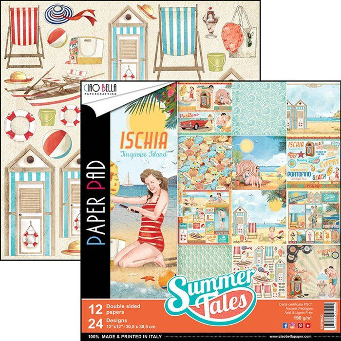 Ciao Bella Paper 12x12 Scrapbooking Summer Tales Collection Scrapbook Paper Scrapbook Paper