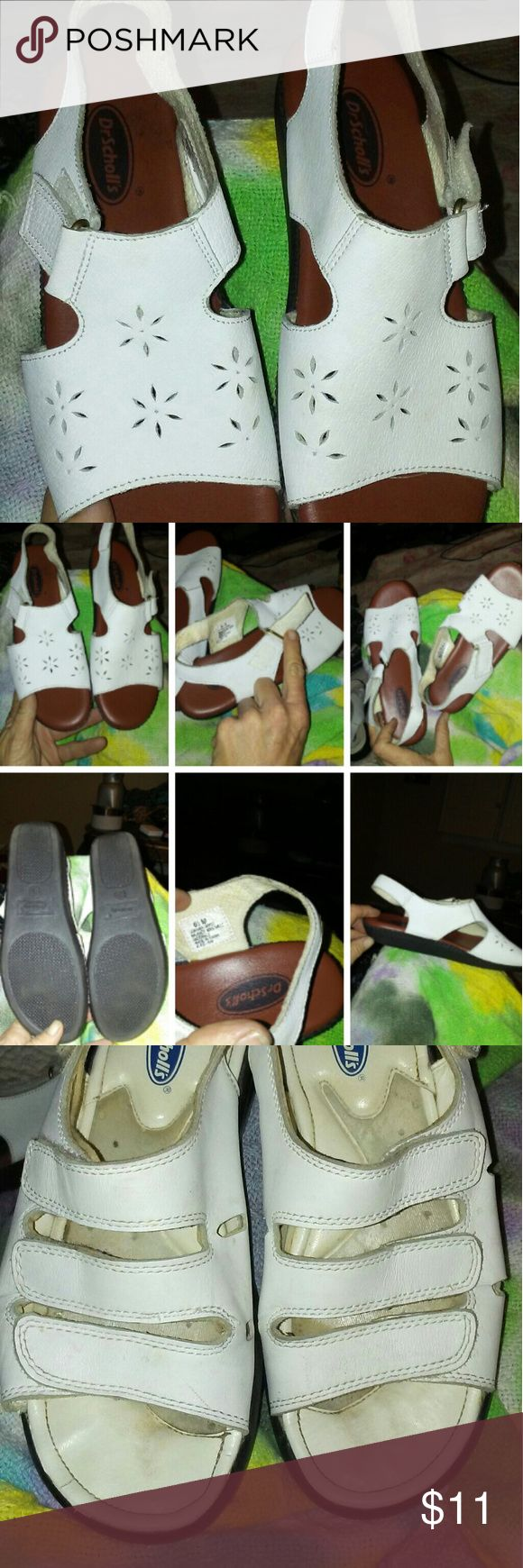 Womens 6 1/2 Dr Scholl's Sandals Dr Scholl's Womens Sandals White,  Size 6 1/2. Velcro top fasten strap. Gently Pre-owned showing no ware.       Very clean and lint free velcro.  Soles have no ware. #Drscholl's #drschollssandals #womenssandal Dr. Scholl's Shoes Sandals