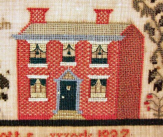 Needlework sampler 1837, Harriet Stott, brick house