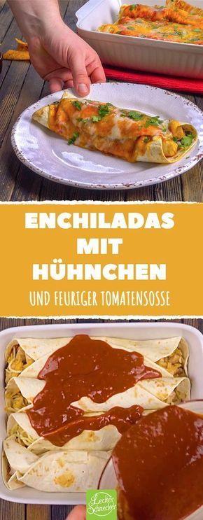 Diese Enchiladas mit Hähnchen bedeuten pures, überbackenes Glück! #rezept #re…