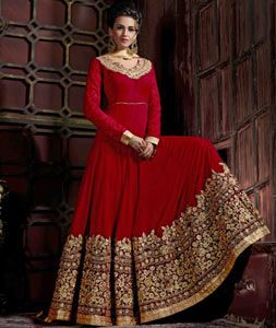 Buy Red Pure Georgette Floor Length Anarkali Suit 75361 online at lowest price…
