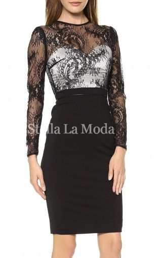 Well-toned midi dress features black transparent mesh bodice in intricate floral pattern and sweetheart white lined, long sleeved, package hip pencil skirt gives the sexy stuffs a safe sense by keeping all in places, leatherette trims waistband and the smooth full-length back makes this dress easy to wear.Material : Polyester Spandex