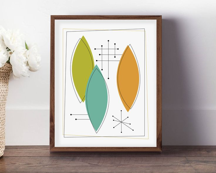 This mid century modern artwork will make a darling addition to your retro styled home. Add some fun to your walls!