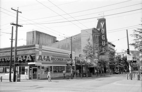 Granville Street with Vogue Theatre, 1981. (Photo via Vancouver Archives)