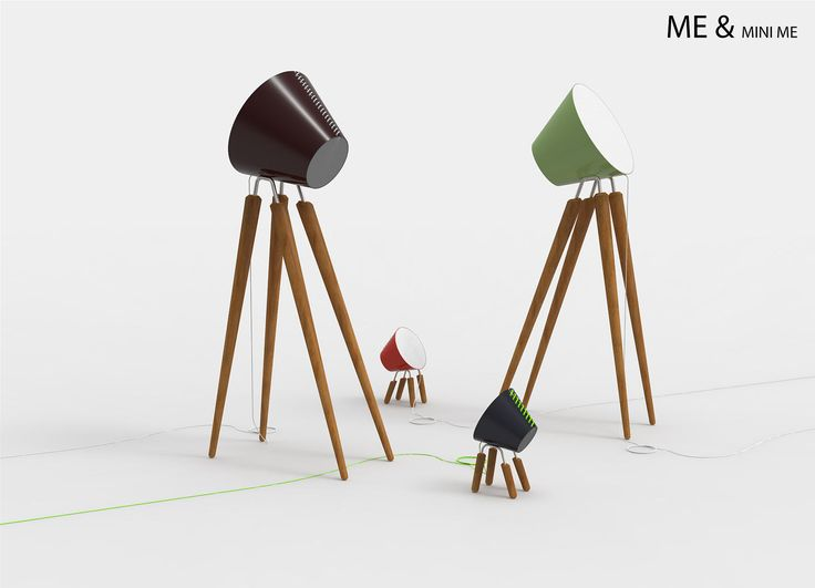ME & MINI ME - Me & Mini Me were two lamps, a floor lamp and a table lamp, made of a folded steel sheet and fixed with a little rope. This truncated cone was closed at its ends by cotton  lampshades. Finally, to support this cone, there were 4 beech legs. Me2 & Minime2 are their revisitation. In this new version I change the production methods but not the look. In the first version, the lamp's head was fixed on the four legs with extruded cylindrical steel which were screwed on the head's…