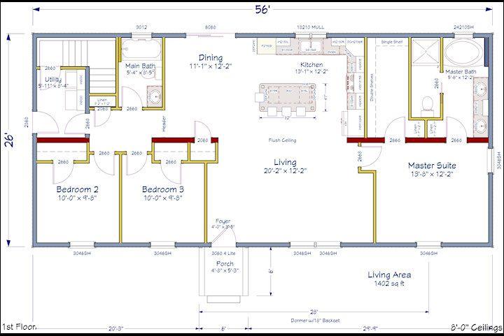Open Concept Floor Plan New Ranch Model Home Pinterest