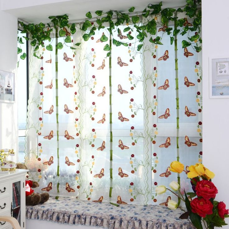 2pcs 0.8M*1M Embroidery Window Voile Curtains Roman Window Valance Sheer Tulle Curtinas for Balcony Bedroom Living Room Decor #Affiliate