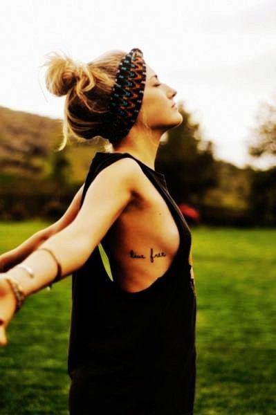 Two Words Rib Quote Tattoos for Girls - Hot Rib Quote Tattoos for Girls #quote #tattoo #girls www.loveitsomuch.com