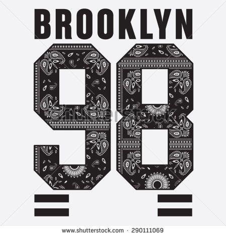 Brooklyn college sport bandana typography, t-shirt graphics, vectors  - stock vector