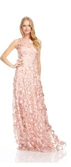 David Meister Pink Sleeveless Floral Evening Gown 981878