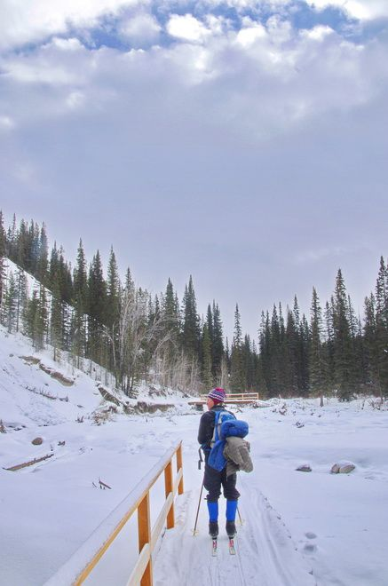 An area scarred by the floods of 2013 - skiing into Sundance Lodge, Banff National Park