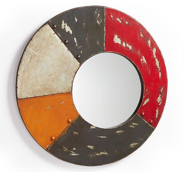 espejo multicolor vintage gambier material metal espejo redondo con marco de metal multicolor en acabado