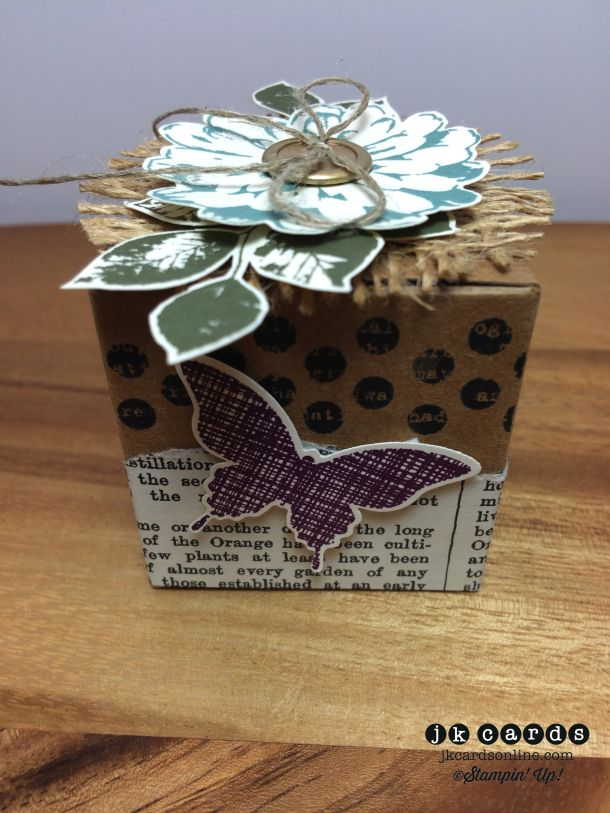 Stampin' Up!, Creation Station Tour 8 - Box. Kinda Eclectic, Choose Happiness, Typeset Specialty DSP, Elegant Butterfly Punch, Tiny Treat Box*, Gold Basic Metal Buttons*, Linen Thread