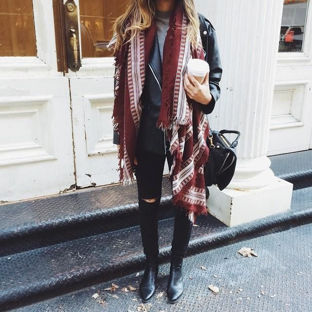 Grey t-shirt, leather jacket, black ripped jeans, blanket scarf