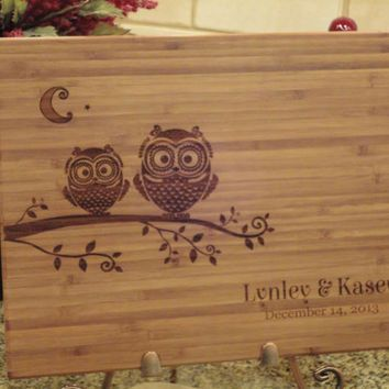 Personalized Cutting Board, Bamboo Cutting Board, Lasered Engraved, Wedding Present, Bridal Shower Gift, Christmas Gift, Owls, Whimsical