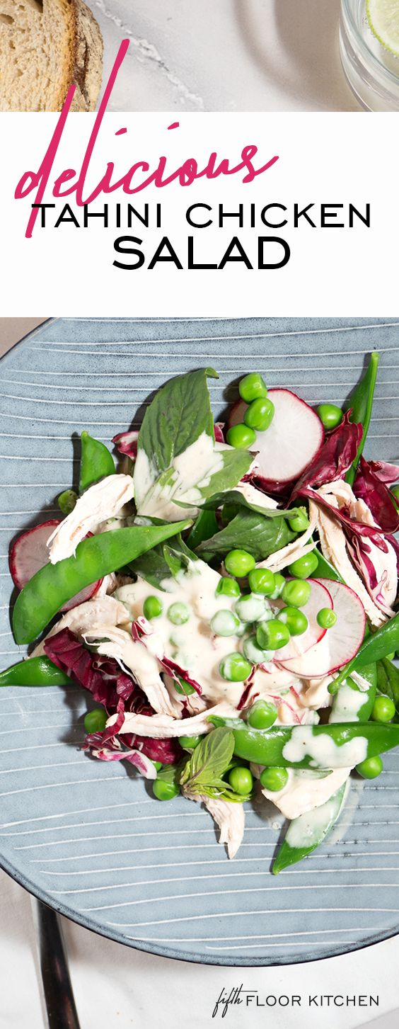 Amazing tahini chicken salad with vibrant green peas, sugar snaps and thai basil