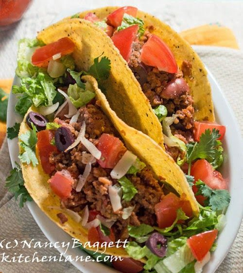 Healthy Meatless Tacos--zesty, colorful, and lots of crunch
