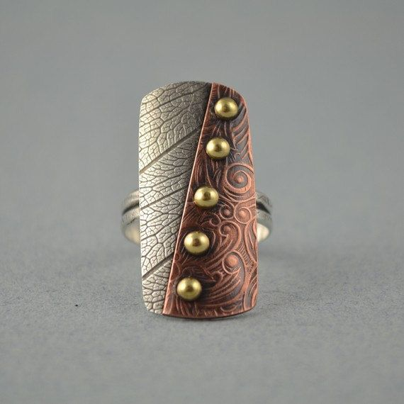 Metalsmith Ring - Mixed Metal Ring - Copper Ring - Artisan Ring on Etsy, $64.22 AUD