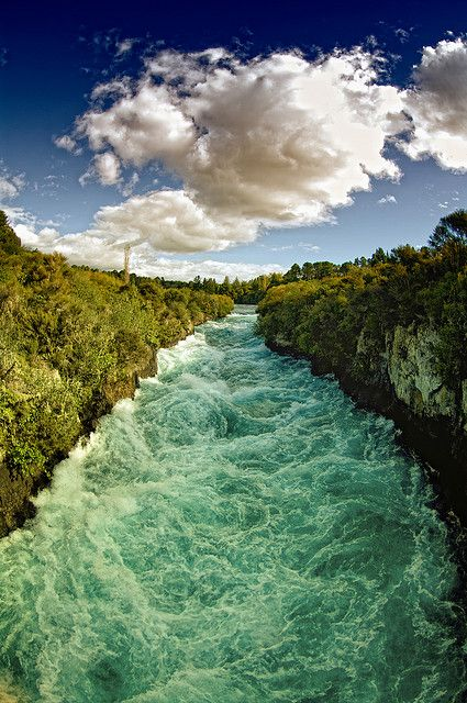 You can feel the force! The Huka Falls are a set of waterfalls on the Waikato River that drains Lake Taupo in New Zealand.