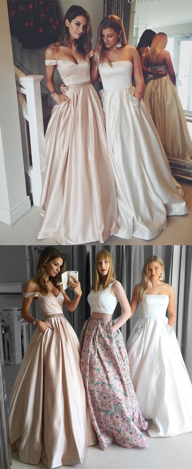 a37541a484 Simple A-line Off the shoulder Champagne Long Prom Dress with Pocket