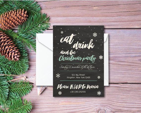 Printable and printed christmas invitation 'eat by BeePrintDesigns