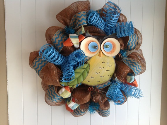 Spring Owl Wreath. $80.00, via Etsy.