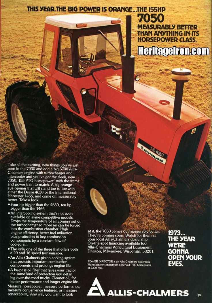 Vintage Ad Wednesday is here! This week we have an Allis-Chalmers 7050 advertisement from the May 1973 issue of Successful Farming. #MuscleTractor #HeritageIron
