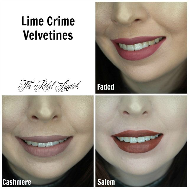 Lime Crime Velvetines Cashmere Faded Salem Swatches   Full review on http://TheRebelLipstick.com
