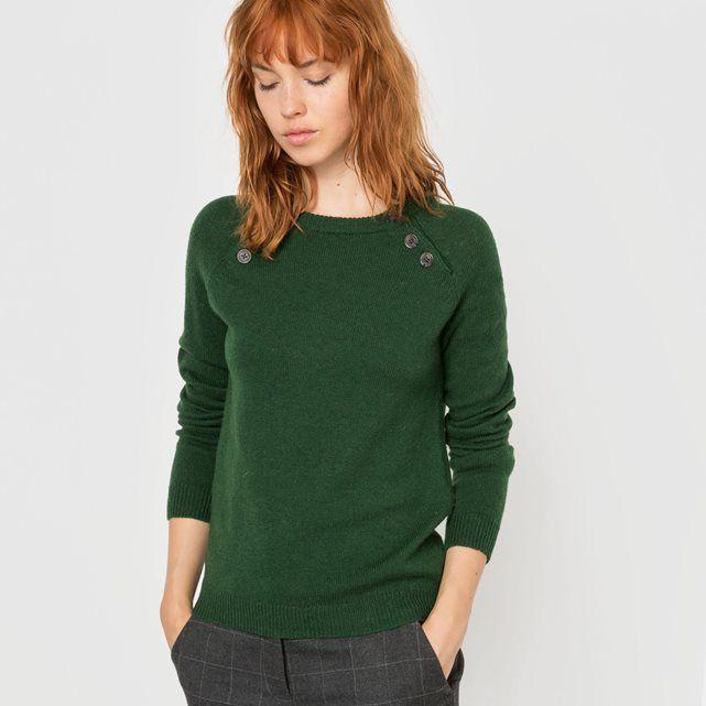 Pull boutonné aux emmanchures, 50% laine R essentiel